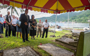 The blessing ceremony for Royal New Zealand Navy Engineering Mechanic 1st Class Russell Moore at Satala Cemetery in Pago Pago, American Samoa.