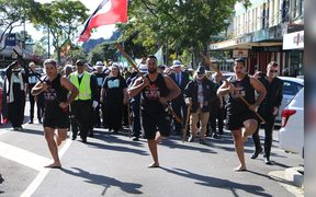 Supporters of Māori wards march through Whakatane.