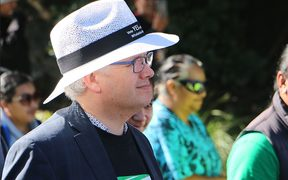 Former New Plymouth mayor Andrew Judd marching in support of Māori wards in Whakatane.