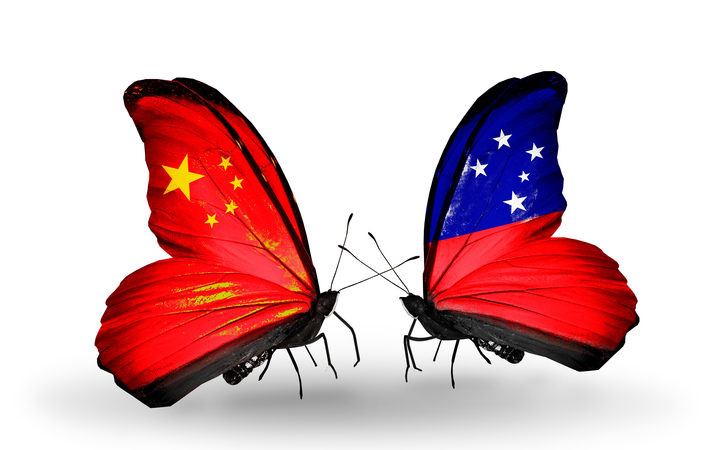 Two butterflies with flags on wings as symbol of relations China and Samoa