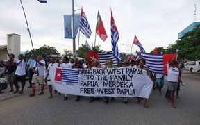 A march through the streets of Honiara in support of West Papua's bid to join the MSG.