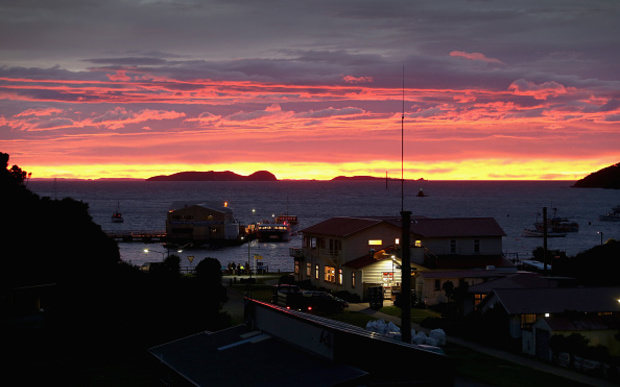 Sunrise over the Southsea Hotel in Oban, Stewart Island, in May 2015.