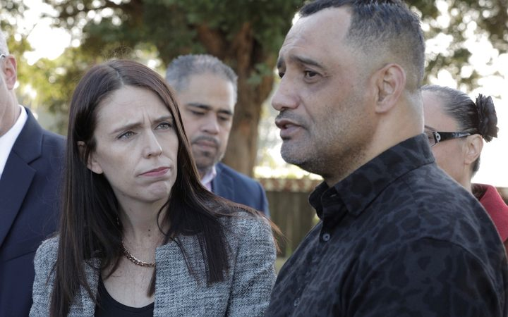 Prime Minister Jacinda Ardern and Hurimoana Dennis at the announcement.