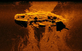 This sonar image was released by the Australian Transport Safety Bureau and shows a ship wreckage on the ocean bed.