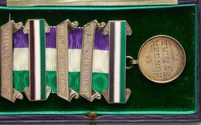 Frances Parker's suffragette medal, also known as the Women's Social and Political Union Medal for Valour (1912).