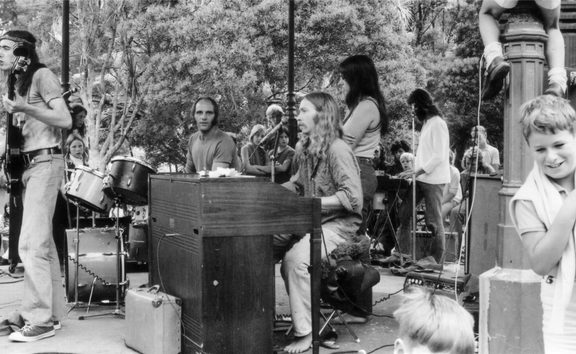 BLERTA kids show at Pukekura Park, New Plymouth on the first North Island tour, 1972. Corben Simpson (vocals), Bruno Lawrence (drums), Alan Moon (hammond organ), Beaver vocals and Chris Seresin keyboards.