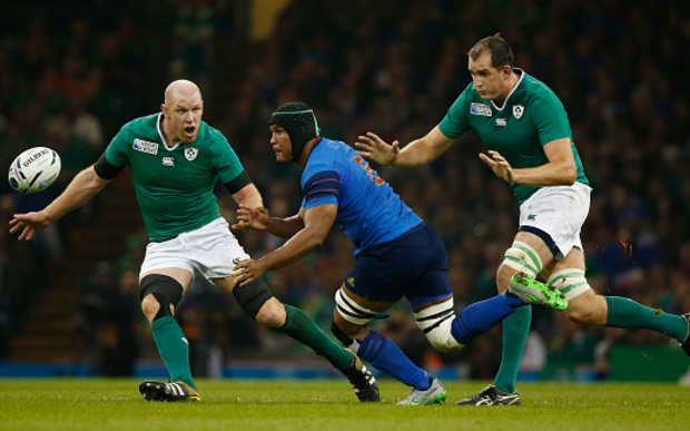 Thierry Dusautoir of France is closed down by Paul O'Connell (L) and Devin Toner of Ireland during the 2015 Rugby World Cup Pool D match between France and Ireland