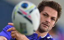 New Zealand All Blacks flanker and captain Richie McCaw attends a training session ahead of his team's match against the French,
