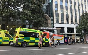 Emergency services respond to reports of a gas leak at the Augusta House building in central Auckland.