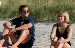 Jason Clarke as Ted Kennedy and Kate Mara as Mary Jo Kopechne in Chappaquiddick.