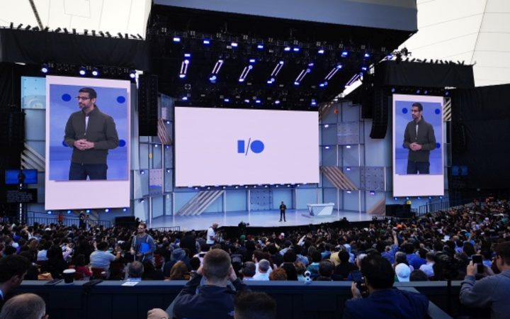 Google CEO Sundar Pichai addresses this year's IO conference in Mountain View, California