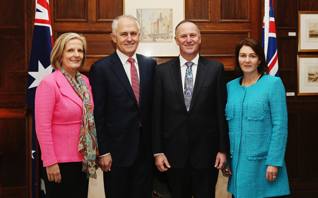 Lucy Turnbull, Australian Prime Minister Malcolm Turnbull, New Zealand Prime Minister John Key and wife Bronagh Key pose for a photograph at Government House.