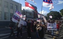 A group of protesters - including members of rival faction Te Kotahitanga - take to the streets to oppose Tūhoronuku's appointment to carry out treaty negotiations on behalf of Ngāpuhi.