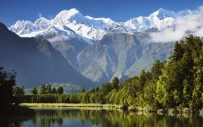 Lake Matheson, Mount Tasman and Mount Cook.