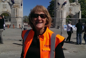 Ros Service next to Christchurch's iconic Triumphal Arch, which cost almost $7 million to fix after the earthquakes.