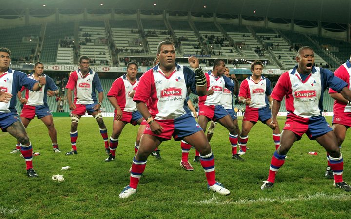 Pacific Islanders perform haka during the match between NSW Waratahs v Punjas Pacific Islands, Aussie Stadium. 25th June 2004. Photograph taken by Paul Seiser ©Seiser Photography/ Photosport