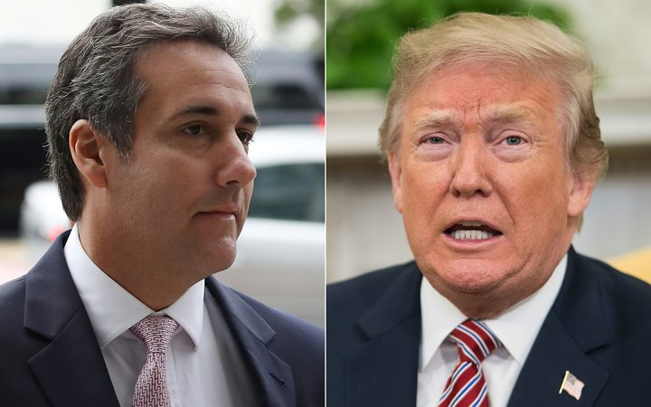 Michael Cohen (L), President Trump's personal lawyer and US President Donald Trump.