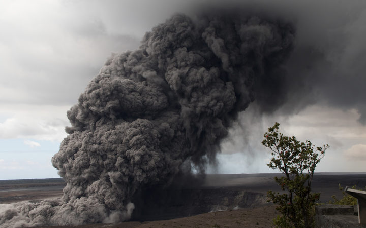 This US Geological Survey (USGS) image released May 15, 2018, shows an ash plume rising following a massive volcano eruption on Kilauea volcano in Hawaii.