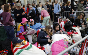 Royal well-wishers prepare to bed down for the night in Windsor on the eve of Britain's Prince Harry's wedding to US actress Meghan Markle.
