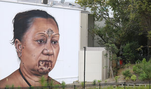 Taa moko artist Tania Cotter depicted in Owen Dippie's mural 'Hine' (Auckland)