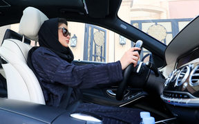 A Saudi woman practices driving in Riyadh, on April 29, 2018, ahead of the lifting of a ban on women driving in Saudi Arabia in the summer.