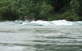 New white-water rapids in the Clutha River created by downpours around Central Otago.