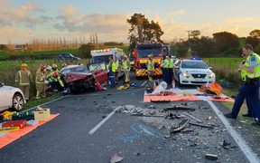 Police at the scene of a recent crash in the Waikato.