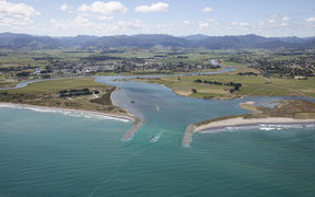 Conceptual image of Opotiki harbour training structures