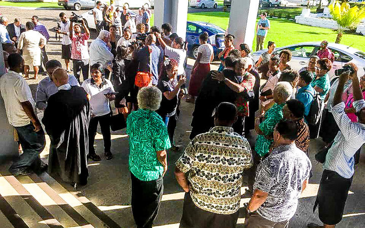 Crowds gathered outside court after Fiji Times staff and local writer were acquitted of sedition charges.