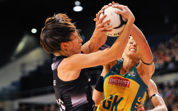 Bailey Mes of the Silver Ferns and Laura Geitz of the Diamonds fight for a ball during the Constellation Cup Netball match, Silver Ferns v Australia, in Christchurch, on the 20th October 2015.
