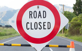 Road closed sign at the top of SH70 heading out of Kaikoura