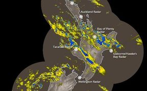 Rain pouring down on most of the North Island.