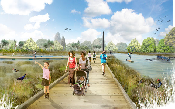 Artist's impressions of the Christchurch river red zone Avon River, from Regenerate Christchurch.