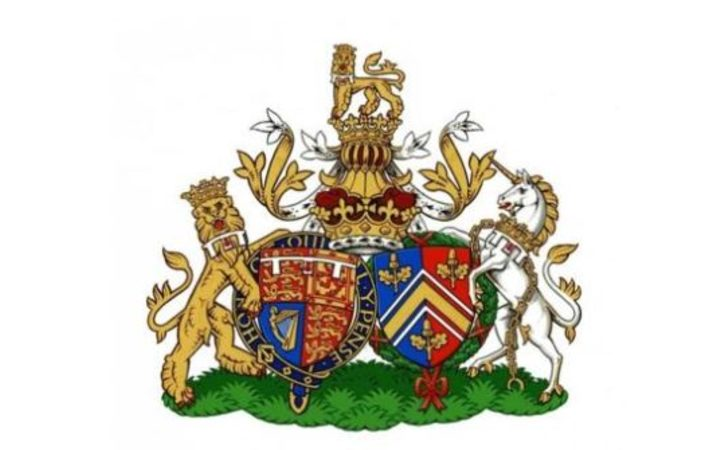 The conjugal coat of arms for the Duke and Duchess of Cambridge.