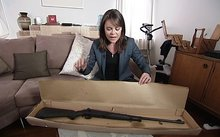 Heather du Plessis-Allan tweeted this photo of herself with the gun.