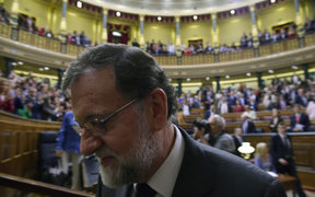 Spain's out-going Prime Minister Mariano Rajoy leaves after a vote on a no-confidence motion at the Lower House of the Spanish Parliament in Madrid on June 01, 2018.