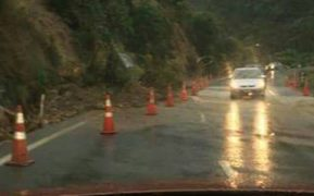 Heavy rain has caused slips on the Kopu-Hikuai Road.