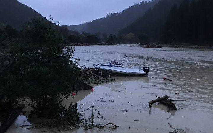 Uawa river in flood at Tolaga Bay.
