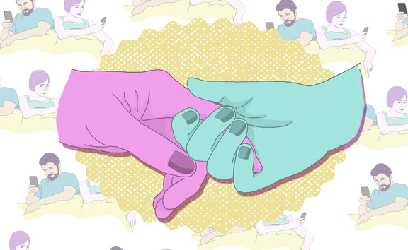 Illustration shows two images overlaying each other - the first is of two hands reaching to connect, the background image shows a couple together in bed but both on their phones. Image by Pinky Fang
