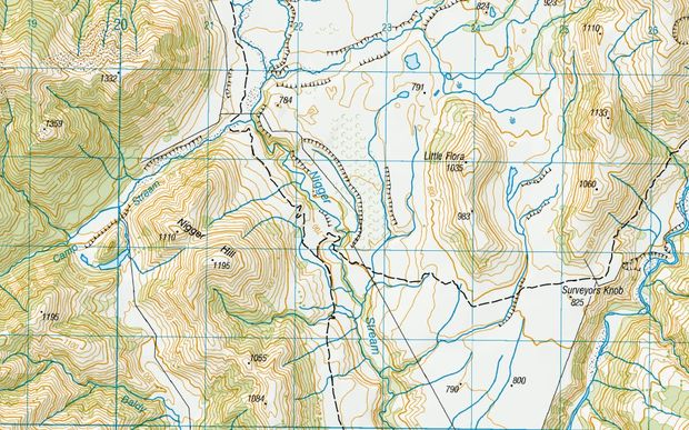A screenshot of a topographical map, showing the Canterbury stream.