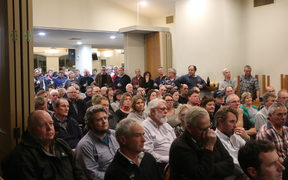 Hundreds of farmers, stock sellers and local leaders packed a Cheviot pub to hear how MPI is handling the disease.