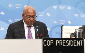 Frank Bainimarama, Prime Minister of Fiji and President of the COP23 attends the opening session of the COP23 United Nations Climate Change Conference on November 6, 2017 in Bonn, Germany.