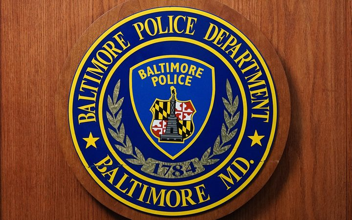 A seal of the Baltimore Police Department is seen at Police Headquarters in Baltimore.