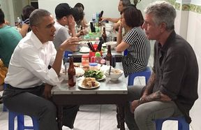 Barack Obama and Anthony Bourdain share a meal in Vietnam in a 2016 episode of the CNN television show Parts Unknown