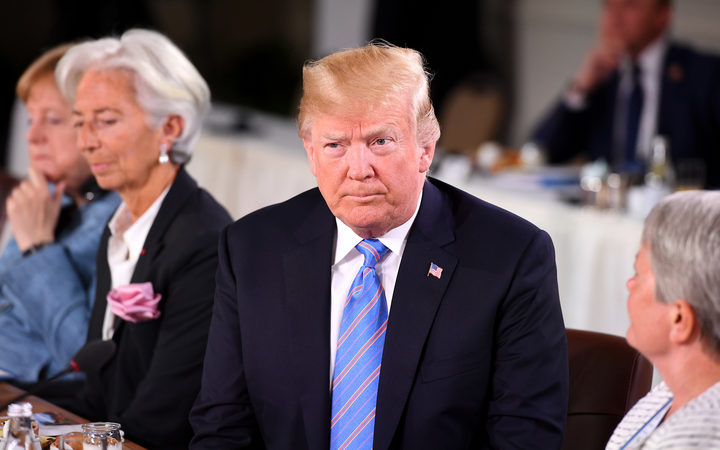 QUEBEC CITY, QC - JUNE 09: (L-R) German Chancellor Angela Merkel, Christine Lagarde, US President Donald Trump and Christine Whitecross during the Gender Equality Advisory Council working breakfast on the second day of the G7 Summit on June 9, 2018 in Quebec City, Canada.