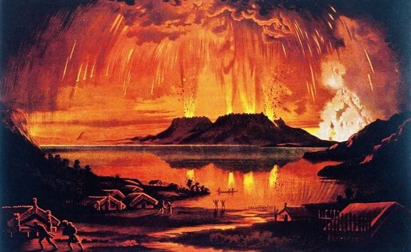 Mt Tarawera in Eruption June 10 1886. Chromolithograph of oil painting printed by A. D. Willis, Wanganui in 1886.