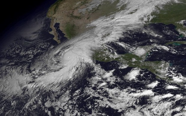 A satellite image of Hurricane Patricia rumbling towards Mexico's Pacific coast.