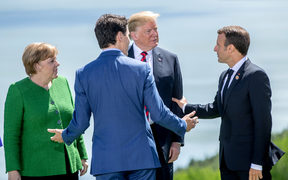 German Chancellor Angela Merkel, Canadian Prime Minister Justin Trudeau,  