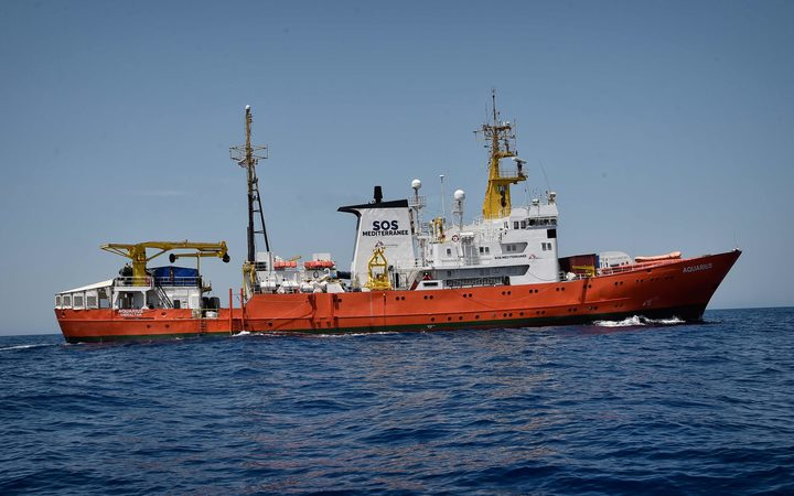 "The MV Aquarius, a search and rescue ship run in partnership between ""SOS Mediterranee"" and Doctors without borders (MSF)."