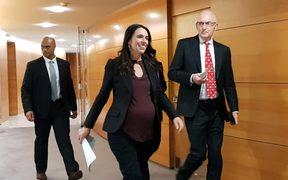 Prime Minister Jacinda Ardern on her way to the post cabinest news briefing on 11 June.